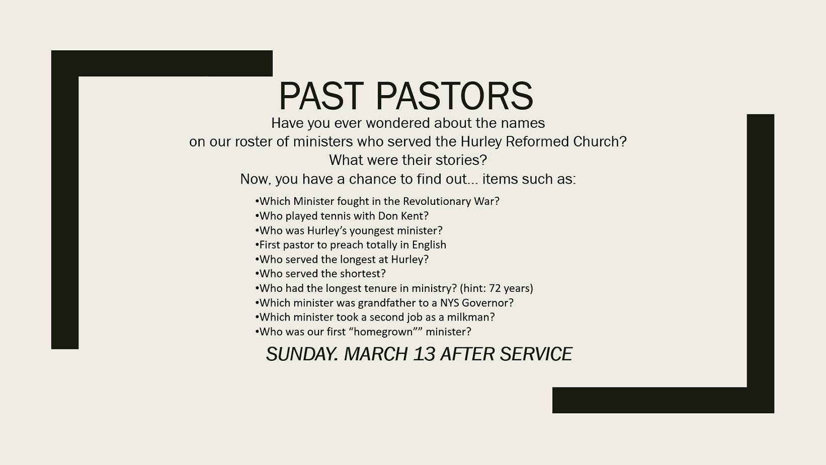 past pastors